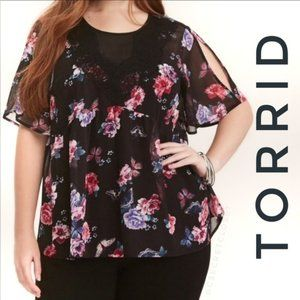 Torrid Chiffon Floral Butterfly Victorian Lace Top